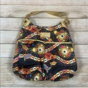 BollyDoll Yak Pak Black Gold Fish Print Purse Bag